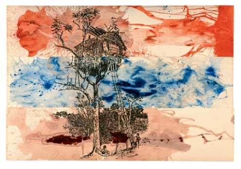 """Treehouse' 1976 by Sigmar Polke. Polke has used really bright emotive colour to describe this angry sky. Pouring the paint and leaving the treehouse as a dark silhouette, and breaking up the sky with different colours, really adds to the drama and worry sensed."