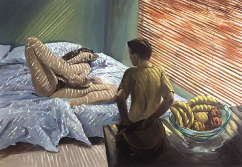 'Bad Boy' by eric Fischl 1981. Here the subject matter is very much disturbing and vulgar as is fischl's style. The colours used are rather sickly and the whole scenario is a little disturbing.