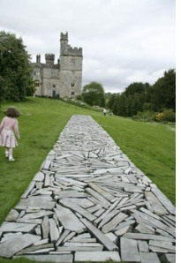 "'Stone Line' Richard Long. Often mapping the lines he has walked with stone he has found Long enjoys making ""practical, emotional, quiet,, vigorous art."" always using natural found materials."