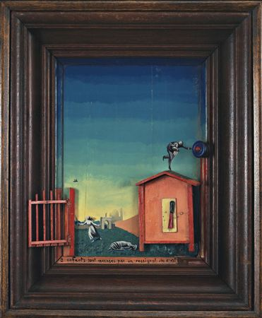Two Children are Threatened by a Nightingale (1924) by Max Ernst