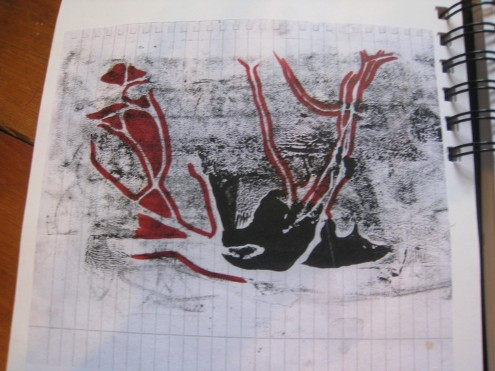 This is a smaller version of a monoprint I created. I copied it, and then drew into it with red permenant marker.